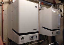 2 x MHG Procon 77H Boilers that have been installed in place of Hamworthy Wall Mounted Boilers in Larbert