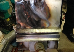 An internal seal fault caused a pocket of gas to ignite between the backplate and its insulating material.